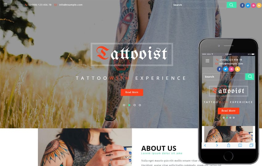 Tattooist a Fashion Category Category Bootstrap Responsive Web Template