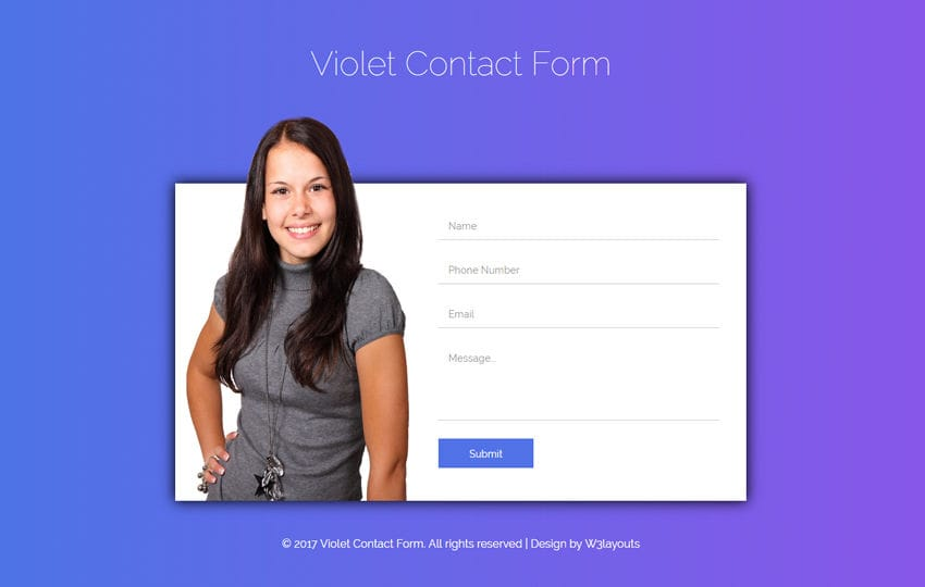 Violet Contact Form a Flat Responsive Widget Template