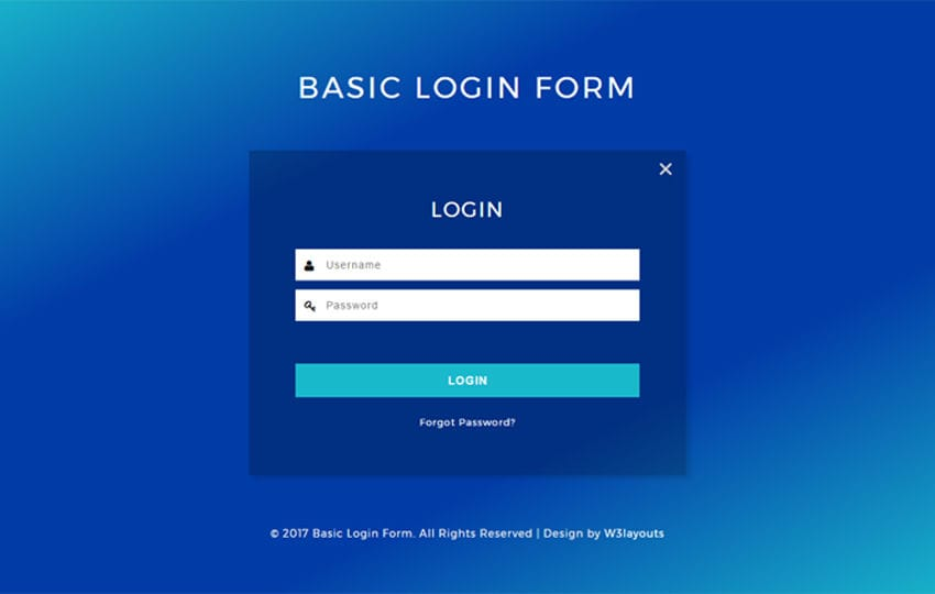 Basic Login Form a Flat Responsive Widget Template