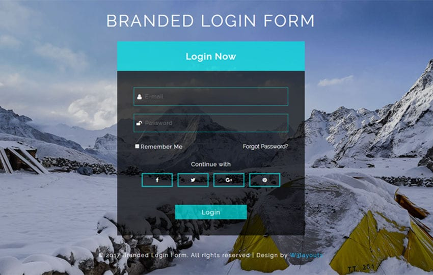 Branded Login Form Responsive Widget Template