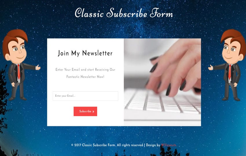 Classic Subscribe Form Responsive Widget Template