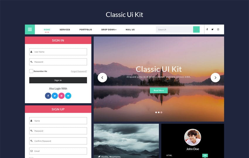 Classic UI Kit a Flat Bootstrap Responsive Web Template
