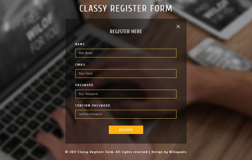 Classy Register Form Responsive Widget Template