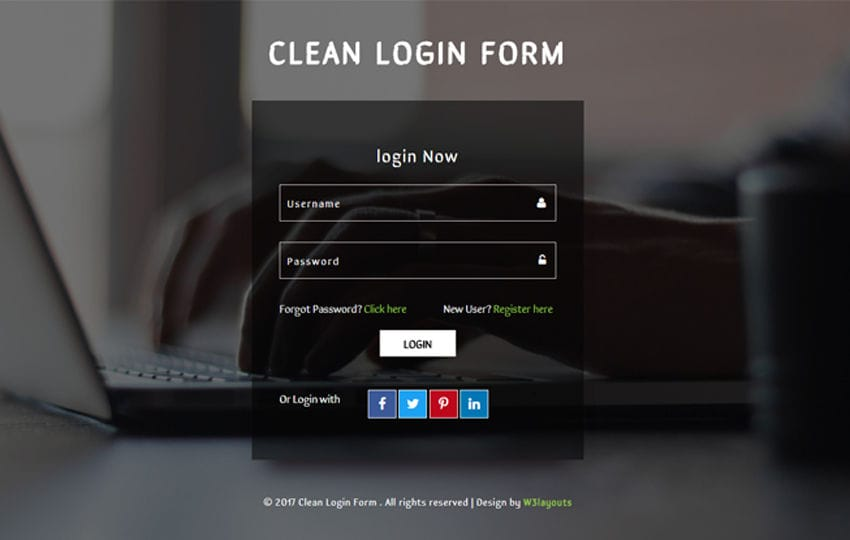 Clean Login Form a Flat Responsive Widget Template