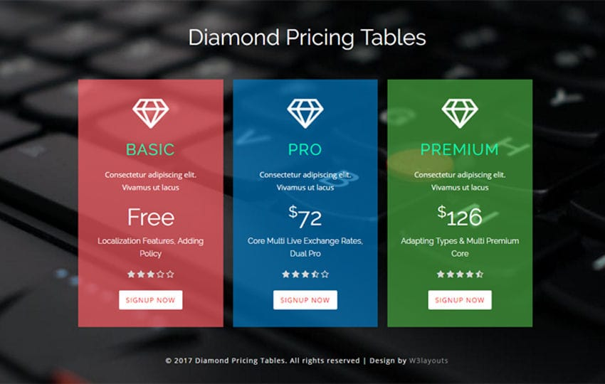 Diamond Pricing Tables a Flat Responsive Widget Template