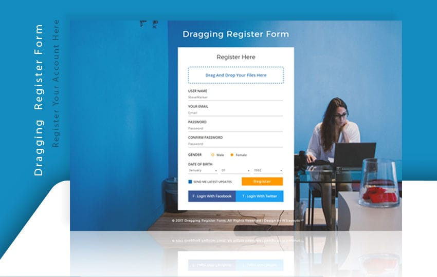 Dragging Register Form a Flat Responsive Widget Template