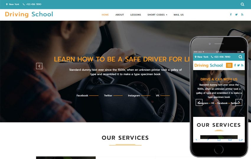 Driving School a Business Category Bootstrap Responsive Web Template