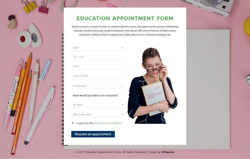 Education Appointment Form a Flat Responsive Widget Template