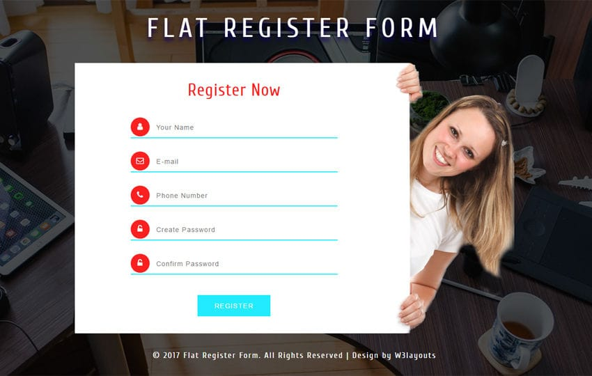 Flat Register Form Responsive Widget Template