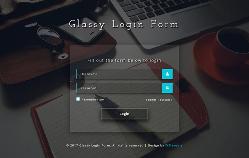Glassy Login Form a Flat Responsive Widget Template