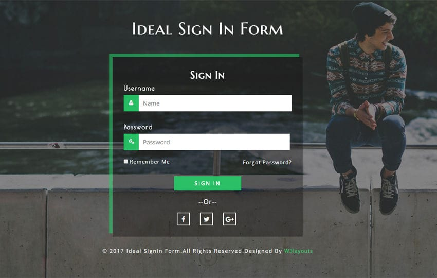 Ideal sign in Form a Responsive Widget Template