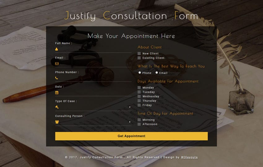 Justify Consultation Form a Responsive Widget Template