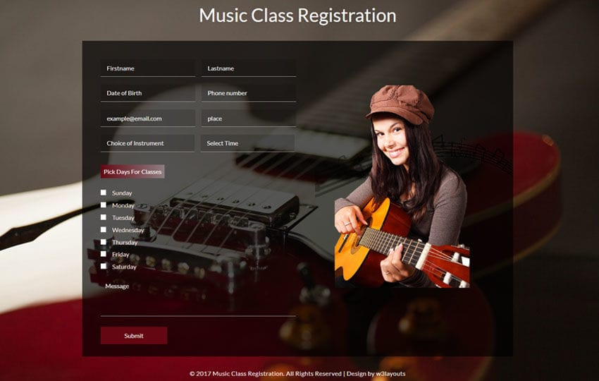 Music Class Registration a Flat Responsive Widget Template