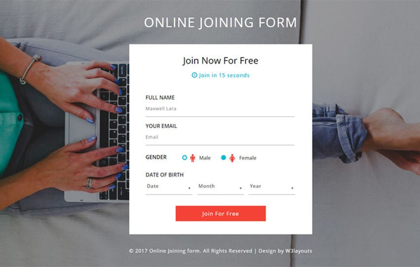 Online Joining Form a Flat Responsive Widget Template