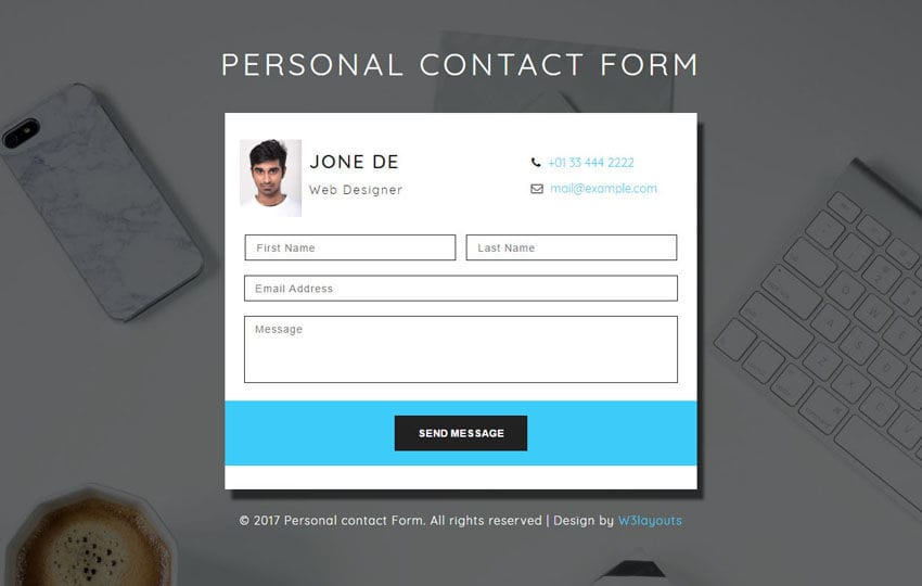 Personal Contact Form a Responsive Widget Template