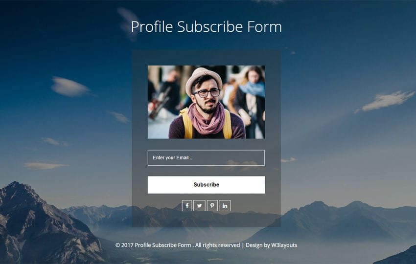 Profile Subscribe Form a Flat Responsive Widget Template
