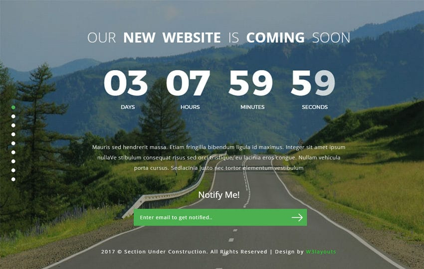 Section Under Construction a Flat Responsive Widget Template
