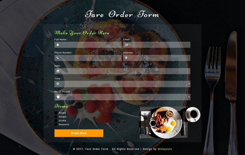 Fare Order Form a Responsive Widget Template