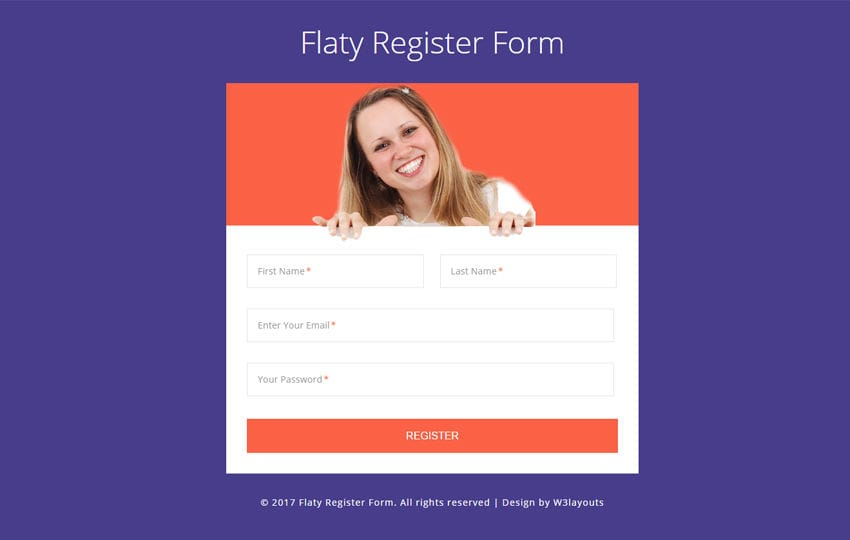 Flaty Register Form a Flat Responsive Widget Template