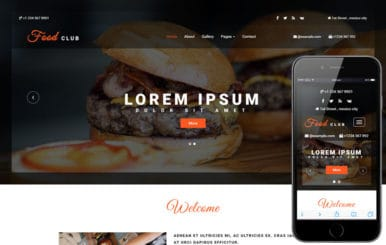 Food Club a Hotels and Restaurants Category Bootstrap Responsive Web Template
