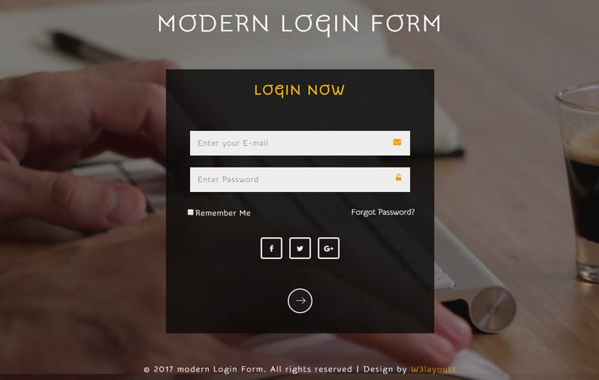 Modern Login Form a Responsive Widget Template