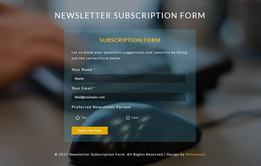 Newsletter Subscription Form Flat Responsive Widget Template