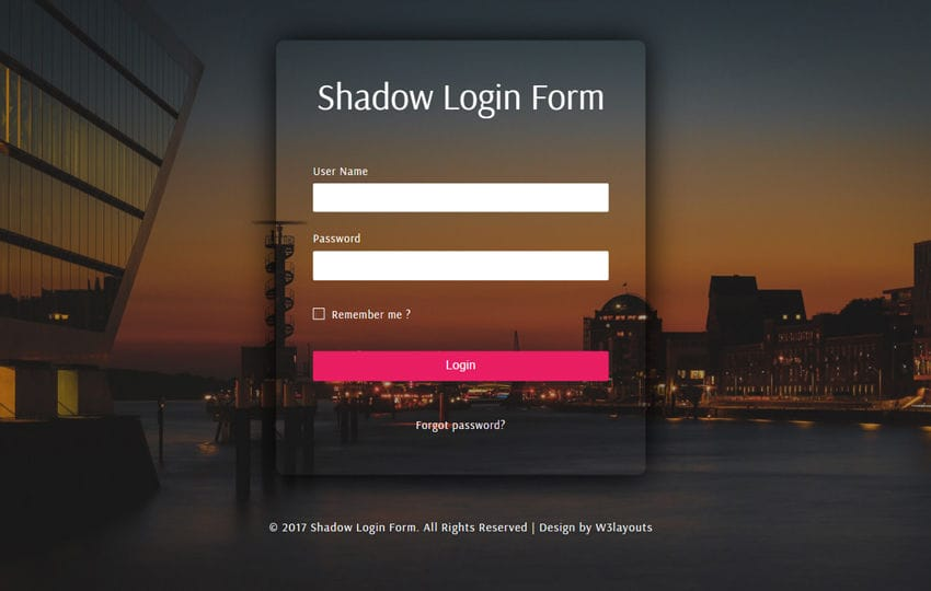 Shadow Login Form a Flat Responsive Widget Template