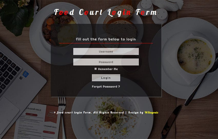 Food Court Login Form a Responsive Widget Template