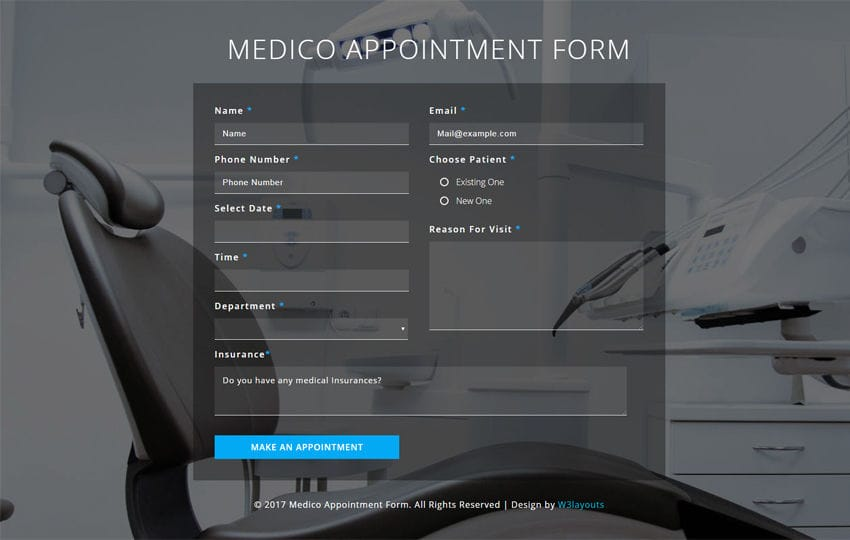 Medico Appointment Form Flat Responsive Widget Template