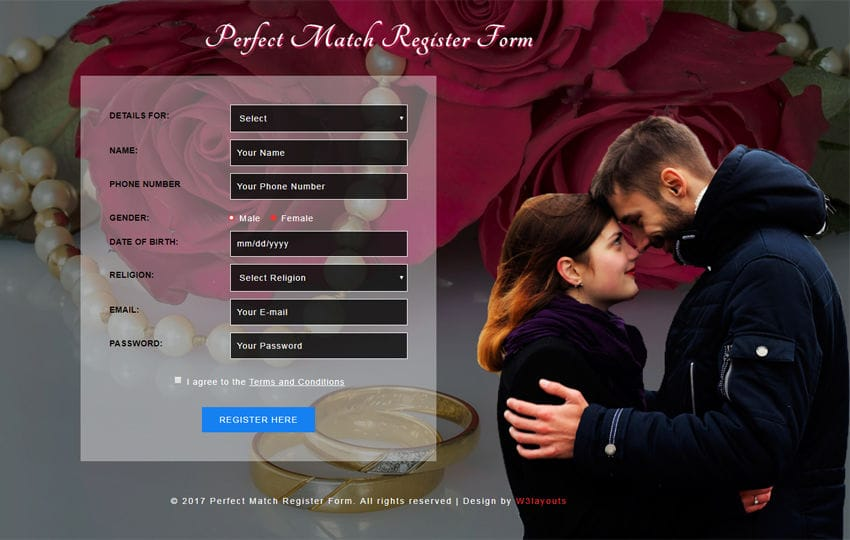 Perfect Match Register Form Responsive Widget Template