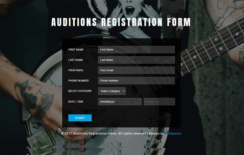 Auditions Registration Form Flat Responsive Widget Template