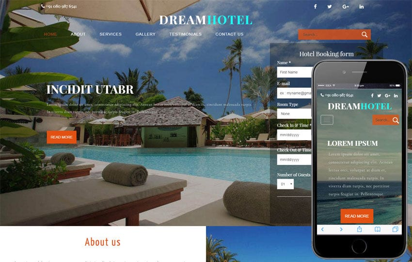 Dream Hotel a Restaurant Category Bootstrap Responsive Web Template