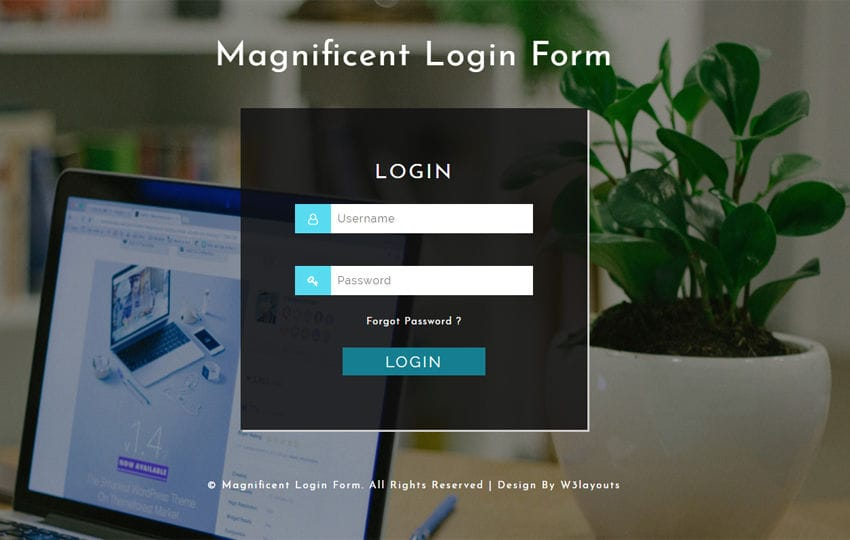 Magnificent Login Form a Responsive Widget Template