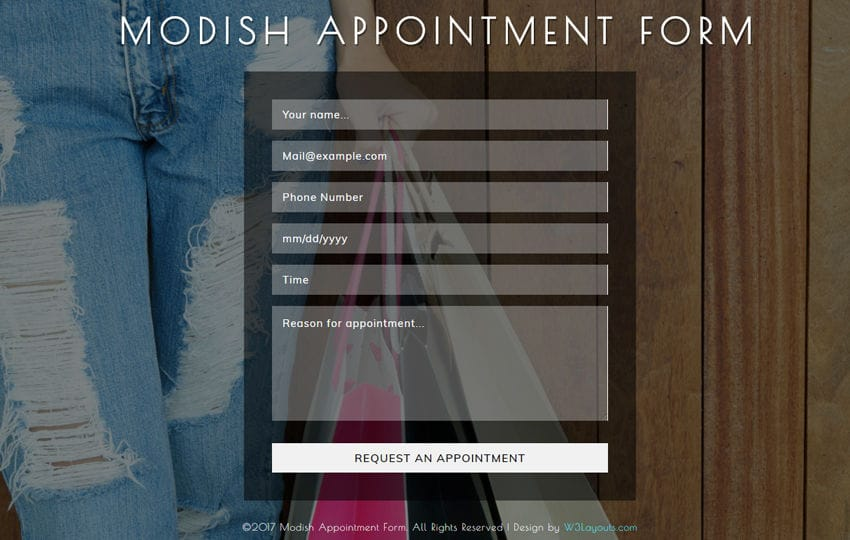 Modish Appointment Form a Flat Responsive Widget Template