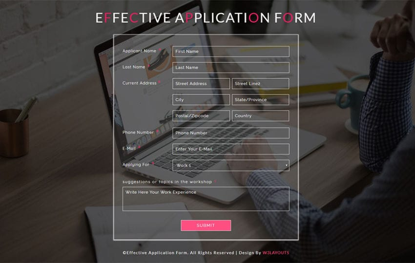 Effective Application Form a Responsive Widget Template