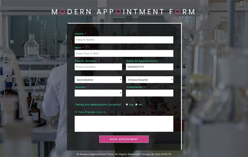 Modern Appointment Form Flat Responsive Widget Template