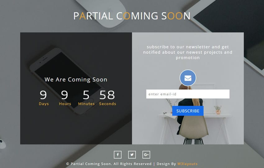 Partial Coming Soon a Responsive Widget Template