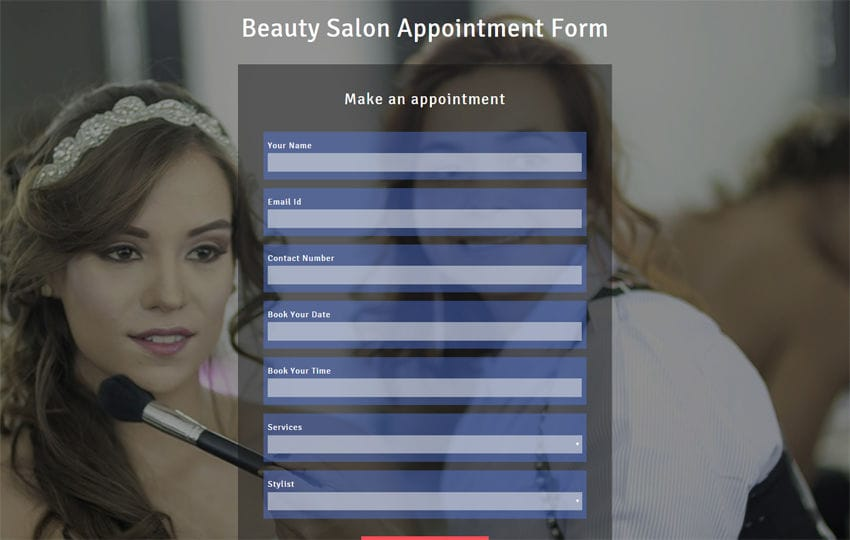 Beauty Salon Appointment Form Responsive Widget Template