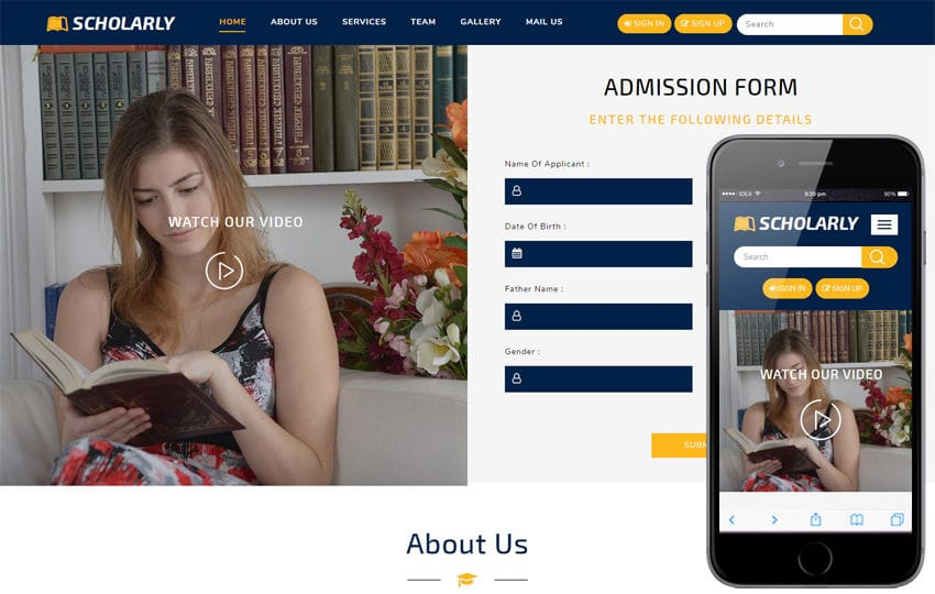Scholarly an Education Category Bootstrap Responsive Web Template