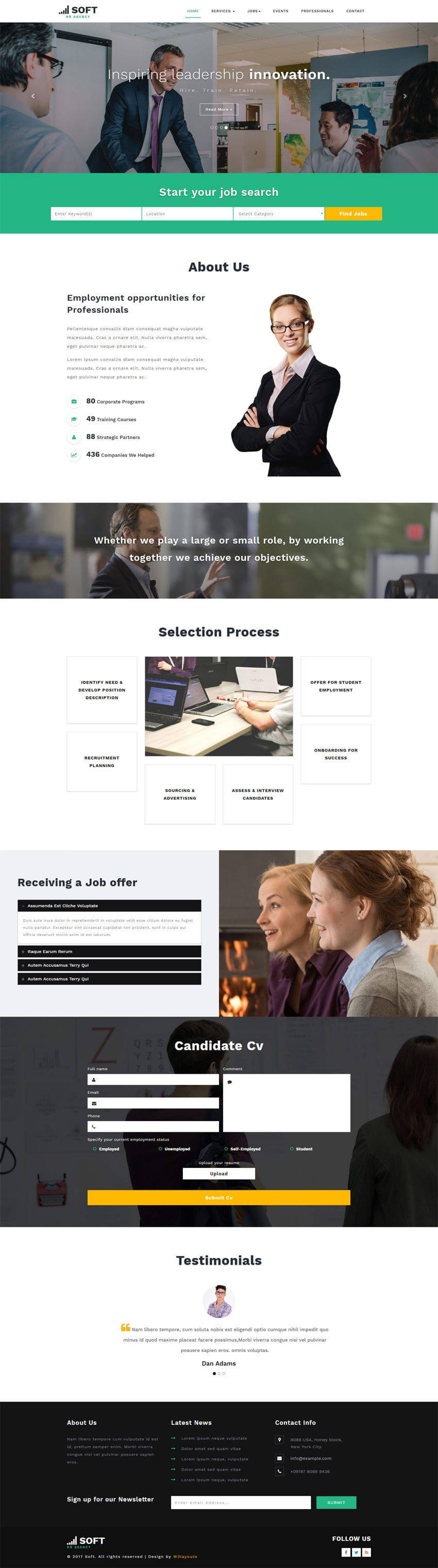 Human Resource Management is a  Bootstrap Responsive Website Template. This free HTML web template is built for Recruiters and Human Resources agencies.