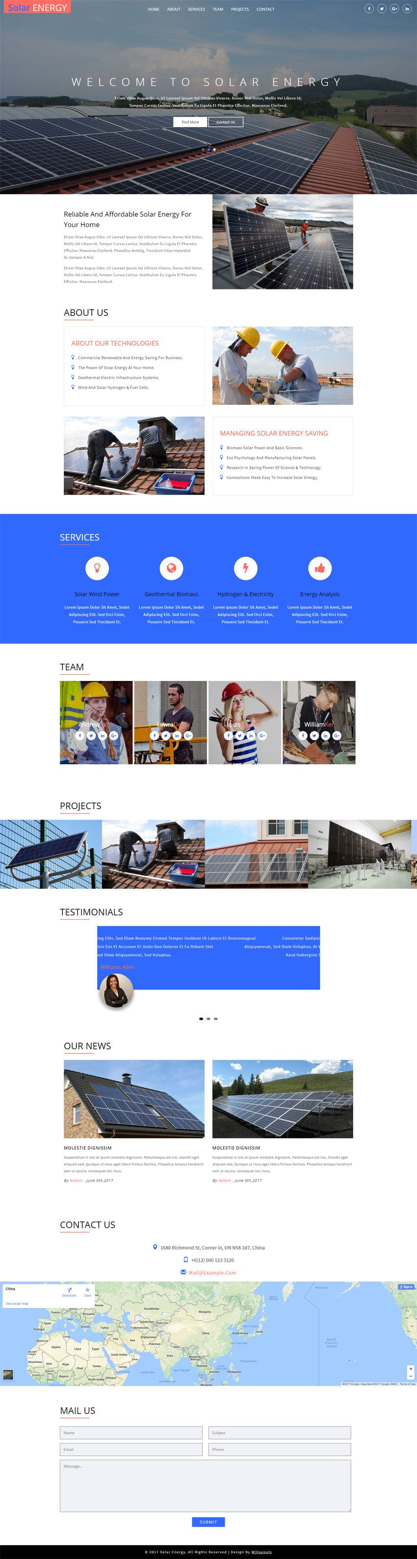 Download Solar Energy, an Industrial solar website template for free. It is entirely built in Bootstrap framework, HTML5, CSS3 and looks professional.