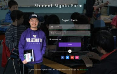 Student Sign in Form Responsive Widget Template