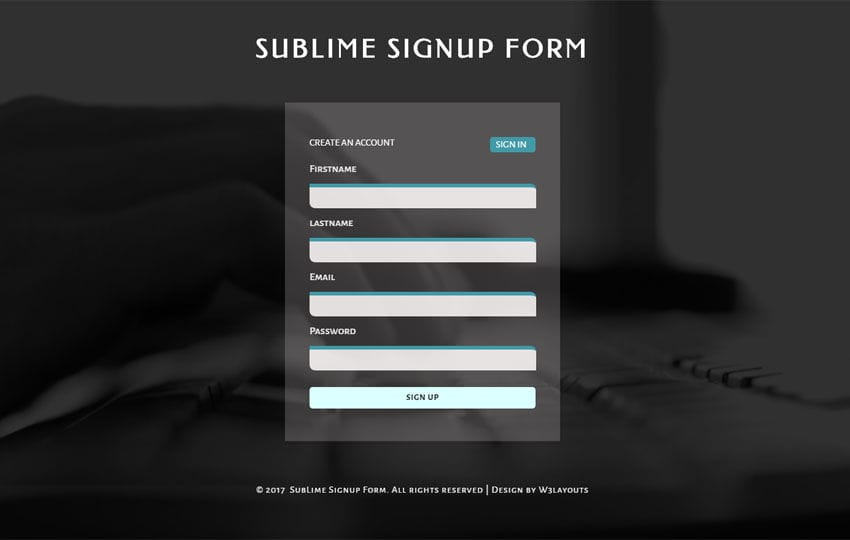 Sublime Signup Form a Flat Responsive Widget Template