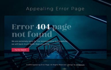 Appealing Error Page Responsive Widget Template
