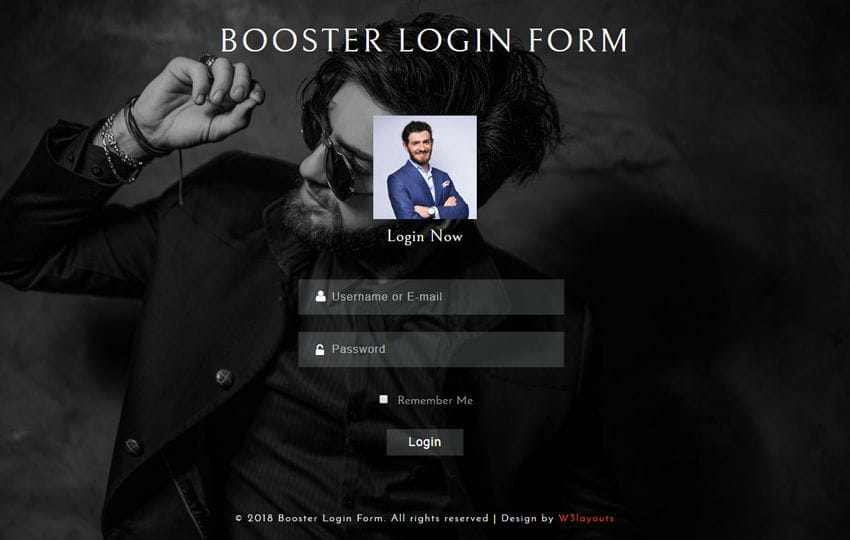Booster Login Form a Flat Responsive Widget Template