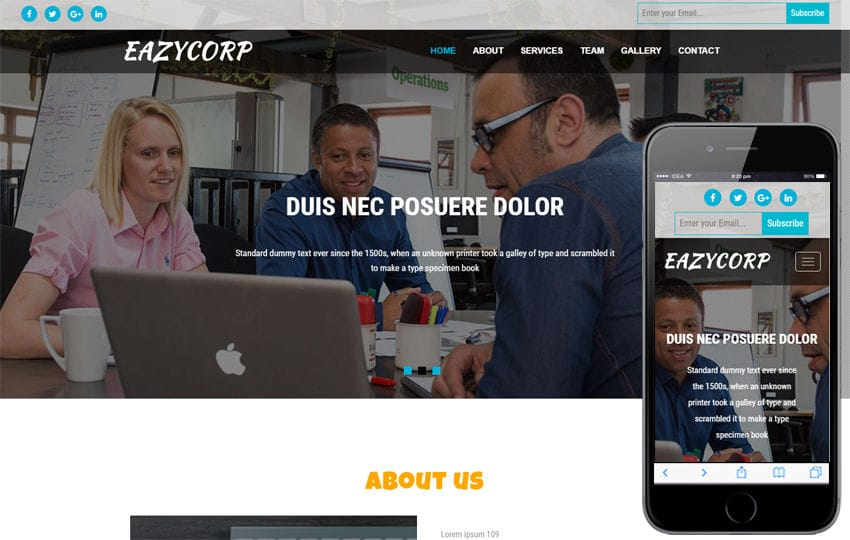 Eazycorp a Corporate Category Bootstrap Responsive Web Template