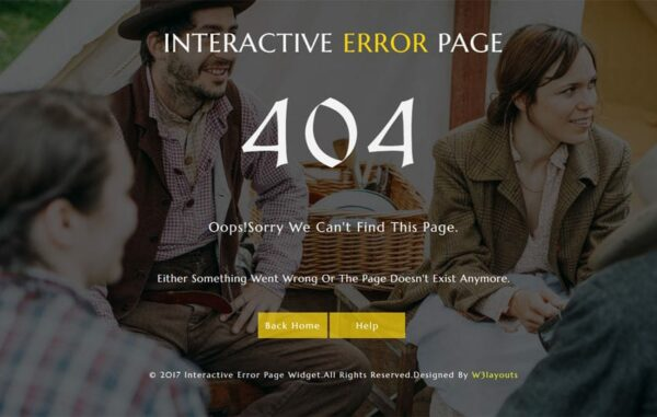 Interactive Error Page a Responsive Widget Template