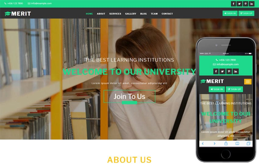 Merit an Education Category Bootstrap Responsive Web Template
