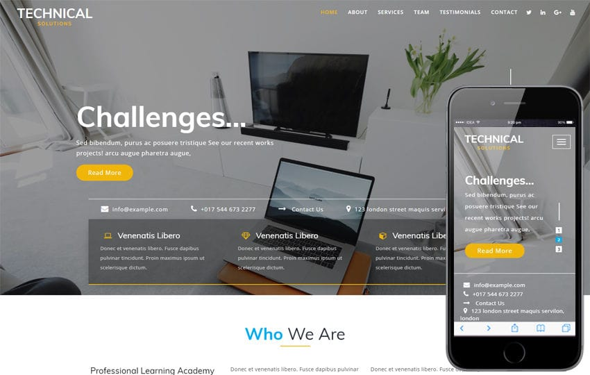 Technical Solutions a Corporate Category Bootstrap Responsive Web Template