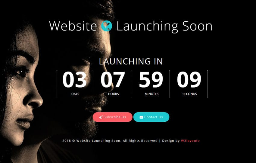 Website Launching Soon Flat Responsive Widget Template